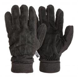 Rukavice velúr/pletené- čierne